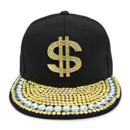 "Bling Studs Snap-Back Cap with ""$"" Emblem CPG161103"