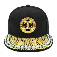 Bling Studs Snap-Back Cap with Fleur-De-Lis Emblem CPG161104