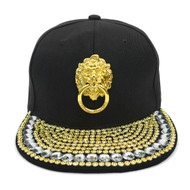 "Bling Studs Snap-Back Cap with Gold Lion ""Door-Knocker"" Emblem CPG161105"