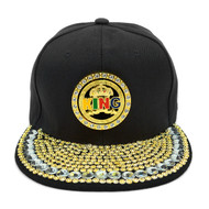 "Bling Studs Snap-Back Cap with Gold Spinning ""King"" Emblem CPG161106"