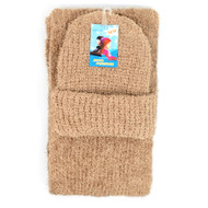 Women's Beige Fuzzy Scarf & Hat Winter Set HY7