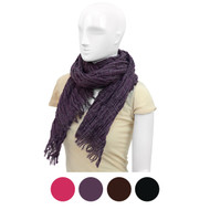 Ruffled Cross-Striped Light Viscose Scarf with Fringed Ends LS4320-1