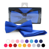 Men's Big & Tall Poly Satin Banded Bow Tie and Matching Hanky Set BTHP1301BX