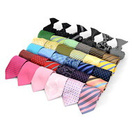 36pc Random Assorted Men's Micro Woven Clip On Ties MPWC36ASST
