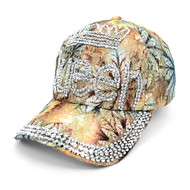 """Queen"" Bling Studs Tan Flower Baseball Cap, Hat CFP9581T"