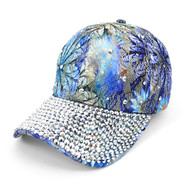 Bling Studs Blue Flower Baseball Cap, Hat CFP9588B