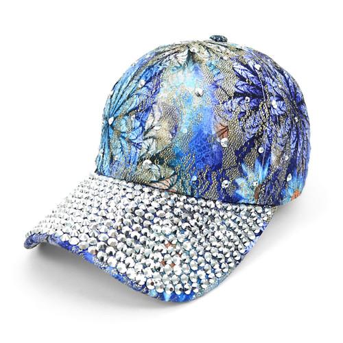 Bling Studs Blue Flower Baseball Cap