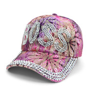 """Boss"" Bling Studs Pink Flower Baseball Cap, Hat CFP9590P"