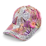 """Cross"" Bling Studs Pink Flower Baseball Cap, Hat CFP10181P"