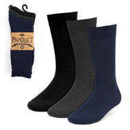 3pcs (3 Pairs) Men's Solid Dressy Fancy Socks 3PKS-DRSY1
