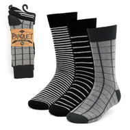 3pcs (3 Pairs) Men's Black Striped Fancy Dress Socks 3PKS-DRSY5