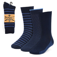 3pcs (3 Pairs) Men's Navy Striped Fancy Dress Socks 3PKS-DRSY6