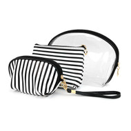 3pc Black & White Striped Cosmetic Bags with attached Mirror LNCB1602
