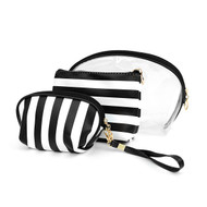 3pc Black & White Wide Striped Cosmetic Bags with attached Mirror LNCB1603