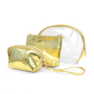 3pc Gold Cosmetic Bags with attached Mirror LNCB1604