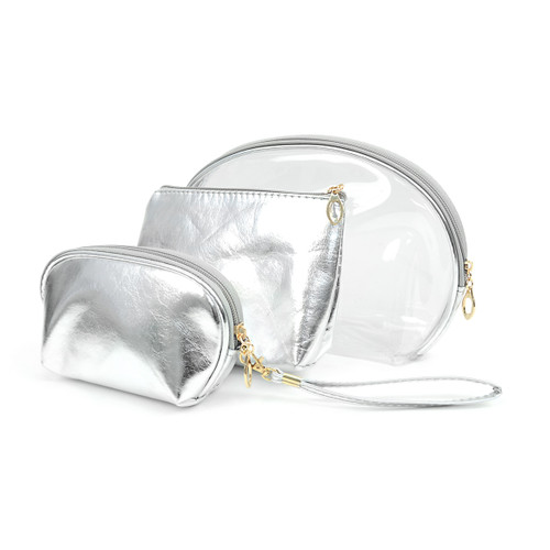 Silver 3pc Travel Make Up Pouch Cosmetic Bags with attached Mirror
