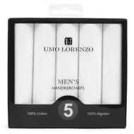 Men's 5pc Boxed Plain Cotton Handkerchiefs HB005