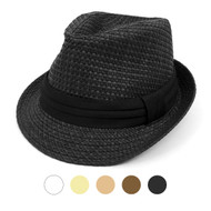 Spring/Summer Basket Weave Fashion Fedora with Black Band FSS17114