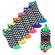 6pairs Women's Multicolor Checkered Low Cut Socks LN6S1627