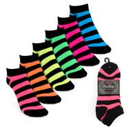 6pairs Women's Multicolor Striped Low Cut Socks LN6S16210