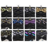 12pc Two Pack Assorted Black & Fancy Poly Woven Banded Bow Tie Duo Sets FBB2X-BLK