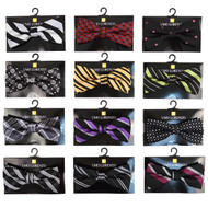 12pc Prepack Assorted Abstract & Striped Pattern Poly Woven Banded Bow Ties FBB-BLK