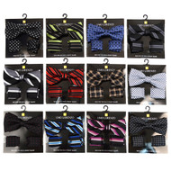 12pc Assorted Men's Abstract & Striped Pattern Banded Bow Tie & Hanky BTH-BLK
