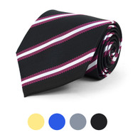 Striped Microfiber Poly Woven Tie - MPW5823