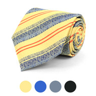 Distressed Striped Microfiber Poly Woven Tie - MPW5825