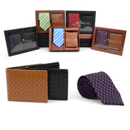 12pc Assorted Pack Poly Woven Tie & Wallet Sets PWWB