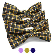 3pc Prepack Men's Poly Woven Geometric Banded Bow Tie FBB5836