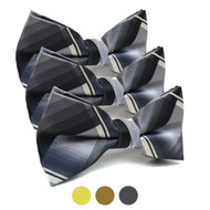 3pc Prepack Men's Poly Woven Plaid Banded Bow Tie FBB5840