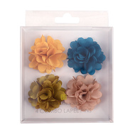 Assorted Solid Mini Bouquet Clutch Back Flower Lapel Pin 4pc Combo Set 4FLP-GD