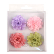 Assorted Solid Mini Bouquet Clutch Back Flower Lapel Pin 4pc Combo Set 4FLP-CORAL