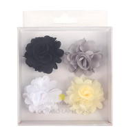 Assorted Solid Mini Bouquet Clutch Back Flower Lapel Pin 4pc Combo Set 4FLP-WHT
