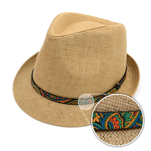 Spring/Summer Woven Fashion Fedora with Paisley Band FSS17120