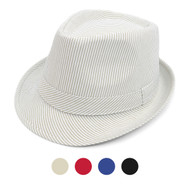 Spring/Summer Striped Fashion Fedora with Black Band FSS17103