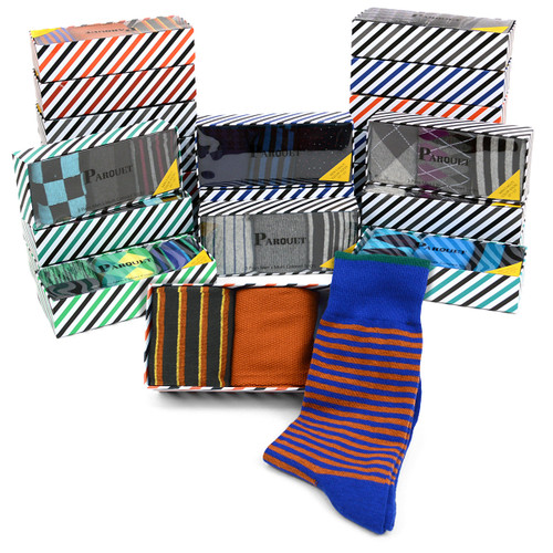 24-Boxes (72pairs) Assorted Mens Dress Socks Striped Gift Box Set (3 pairs per box) - MFS2000