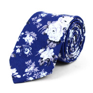 "Floral Blue 2.5"" Cotton Slim Tie - NVC17118"