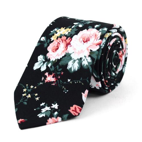 """Floral Black & Rose 2.5"""" Cotton Slim Tie - NVC17127"""