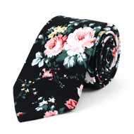 "Floral Black & Rose 2.5"" Cotton Slim Tie - NVC17127"