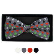 Men's Poker Card Suits Pattern Banded Bow Tie