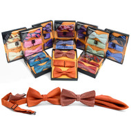 12pc Prepack Assorted Men's Pretied Duo Bow Ties and Matching Hanky
