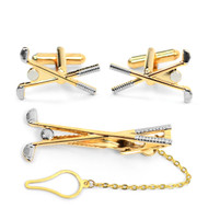 Golf Clubs Cufflink and Tie Bar Set CTB-GOLF