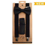 3pc Men's Black Clip-on Suspenders, Paisley Bow Tie and Hanky Sets FYBTHSU-BK10