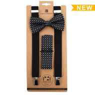 3pc Men's Black Clip-on Suspenders, Diamond Pattern Bow Tie and Hanky Sets FYBTHSU-BK11