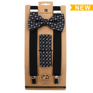 3pc Men's Black Clip-on Suspenders, Paisley Pattern Bow Tie and Hanky Sets FYBTHSU-BK13