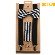 3pc Men's Black Clip-on Suspenders, Striped & ZigZag Pattern Bow Tie and Hanky Sets FYBTHSU14