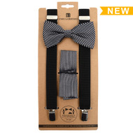 3pc Men's Black Clip-on Suspenders, Striped Pattern Bow Tie and Hanky Sets FYBTHSU15