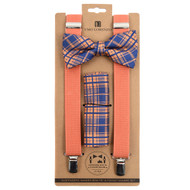 3pc Men's Peach Clip-on Suspenders, Plaid Bow Tie and Hanky Sets FYBTHSUPH4